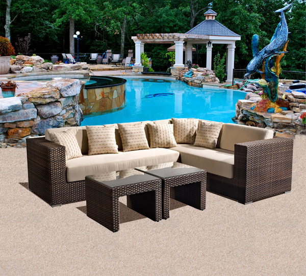 Panorama Outdoor Patio Sectional Seating Set Hot Tubs and Pool Tables Outle